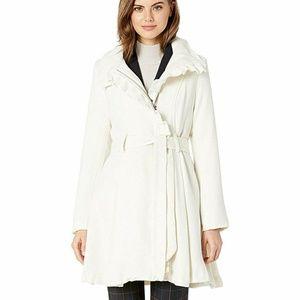 ruffle elegant ivory wool coat